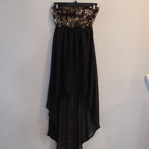 Eclipse strapless sequin high low semi sheer dress